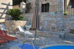 Renovated old stone houses with a pool and sea view